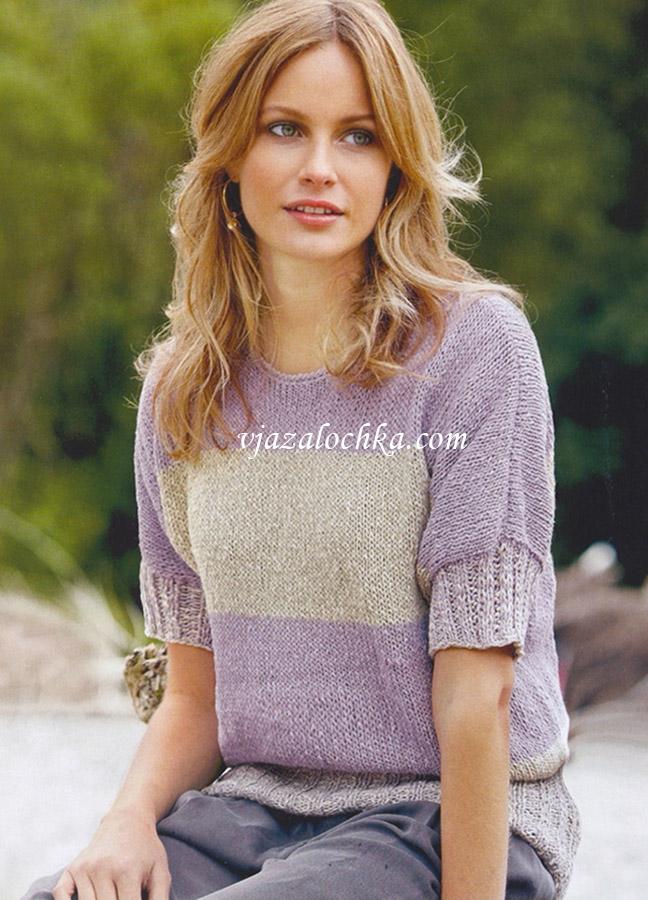 Пуловер с цельновязаными