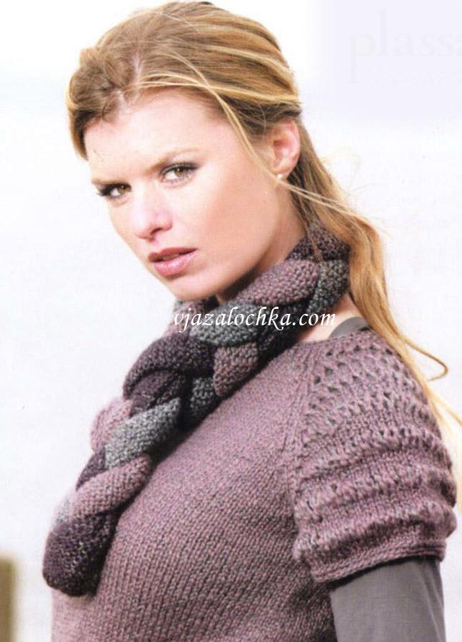 Трехцветный шарф-хомут связан спицами.  Вам потребуется.