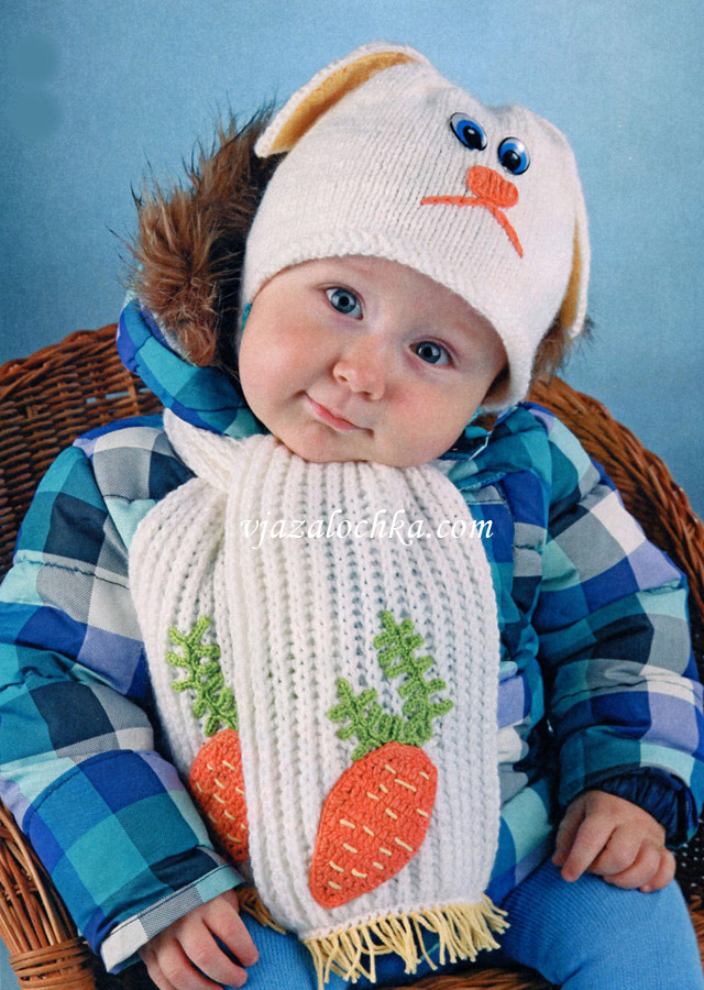 Комплект Зайка (шапка и шарф)