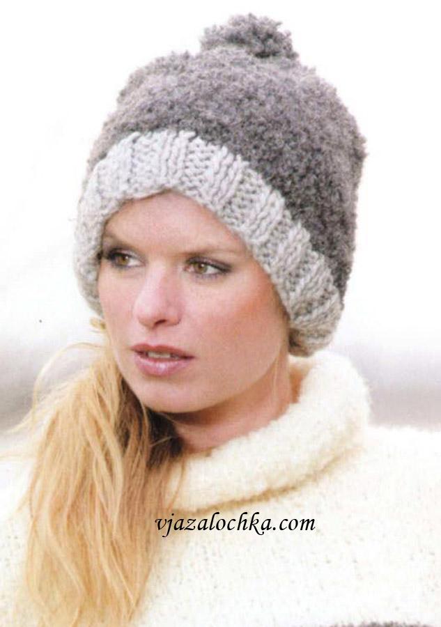Вязаные шарфы и шапки спицами.