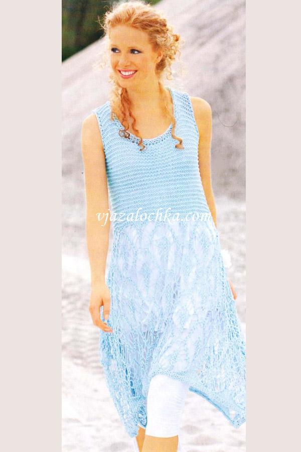 Ассиметричное платье из ленточной пряжи.