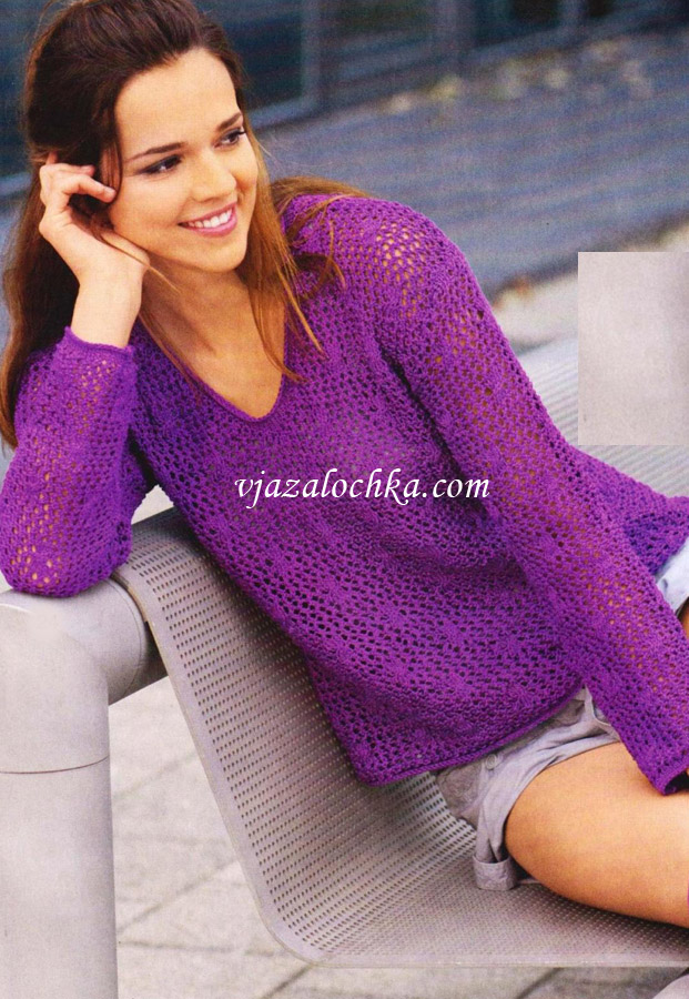 Сетчатый пуловер с косами