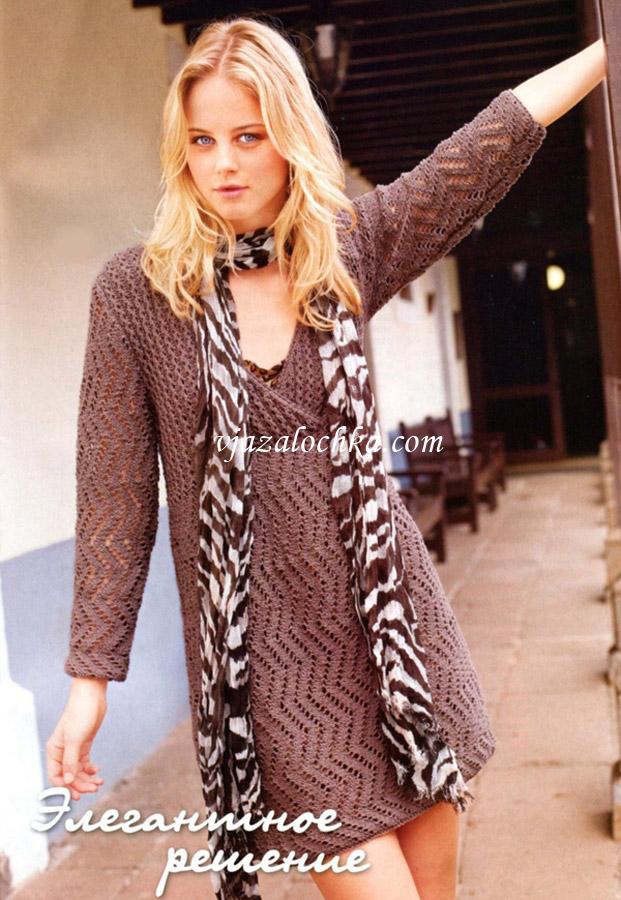 Ажурное платье с узором из