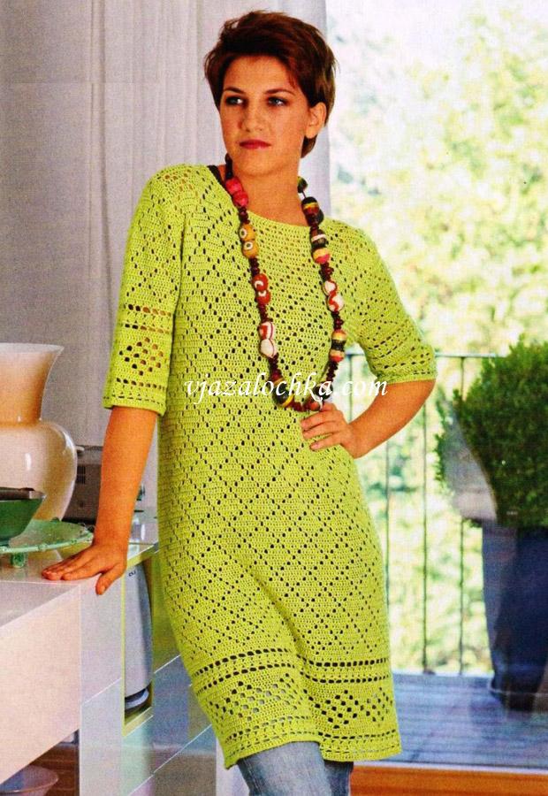 Филейное платье с бордюром