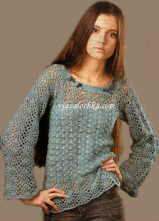 Ажурный пуловер с широкими