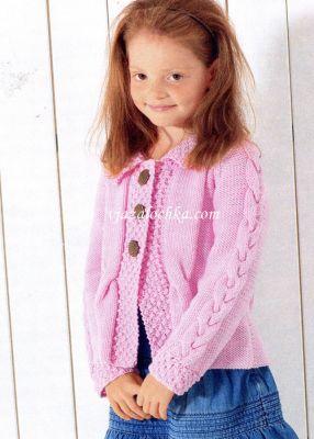 Розовый жакет реглан для девочки