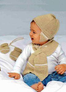 Детский комплект: шапка шарф и <strong>красивое вязание спицами для самых маленьких детей</strong> варежки