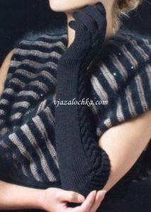 Длинные перчатки с узором коса