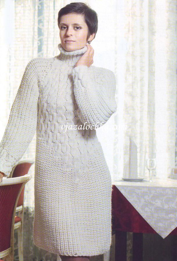 вязаное платье спицами с косами
