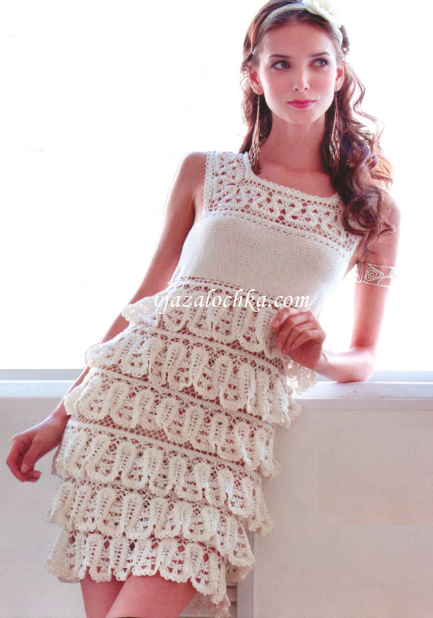 пошаговое вязание платья крючком с фото универсальный материал, используемый