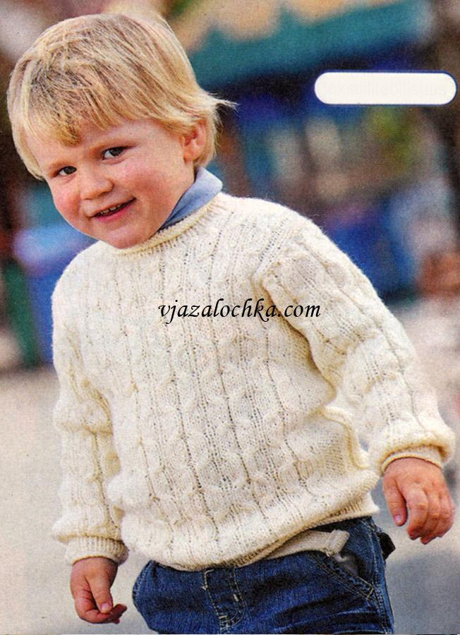 Пуловер для мальчика спицами 1-2 года 57