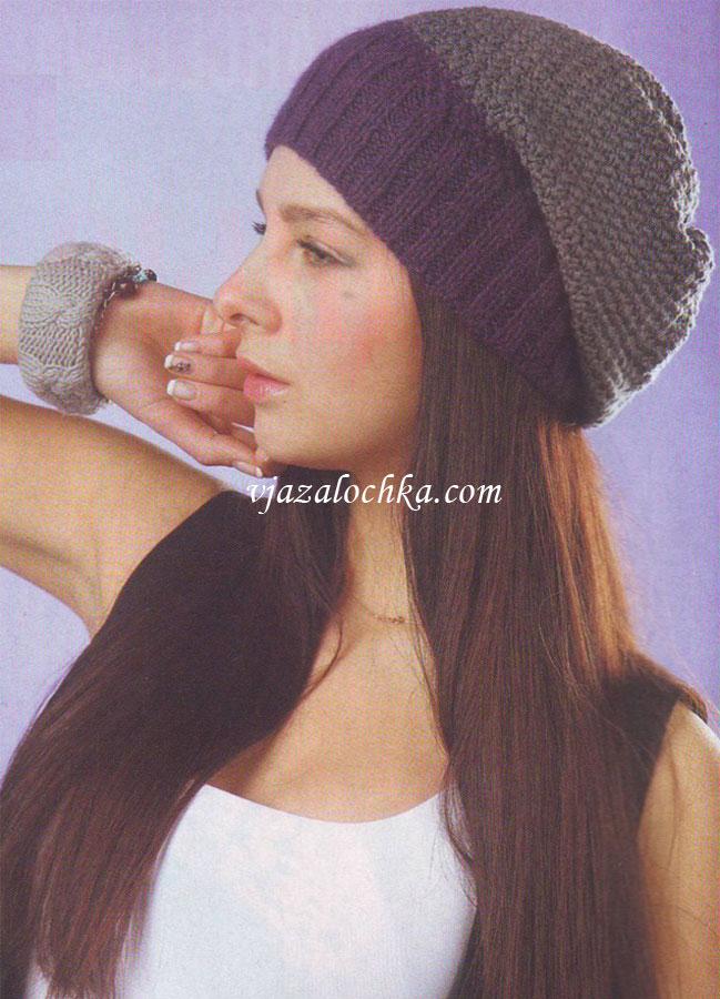 вязание шапки носок спицами