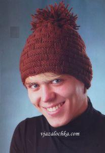 вязаные мужские шапки и шарфы